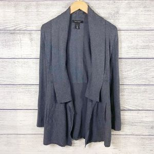 WHBM gray open cardigan with pockets